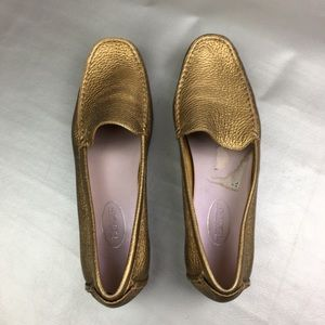 Talbots gold Metallic driving loafers
